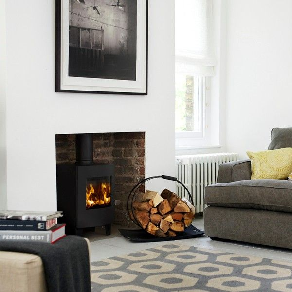 Wood burning stove no surround google search house - Living room with wood burning stove ...