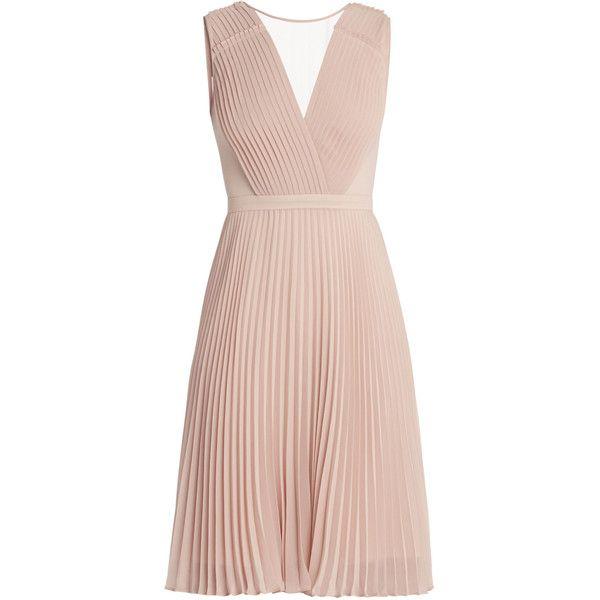 Deborah Pleated Dress ❤ liked on Polyvore featuring dresses, pink dress, pink pleated dress and pleated dresses