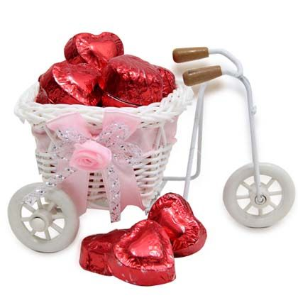 Cycle Basket with Heart Shape Chocolates