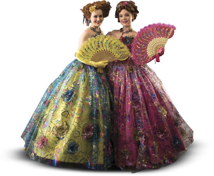 Cinderella Stepsisters from Cinderella 2015 movie. Ok these costumes are so gaudy as to be super cool! Love the color palette on these ladies or wicked step stinters!