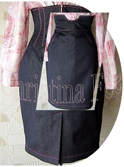 Выкройка юбки с завышенной талией (джинсовая модель с боковыми кармашками) http://www.christinafee.net/pattern-skirt-with-high-waist