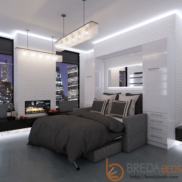 NEW: InLine Murphy Bed With Hutches And InLine Sofa By BredaBeds