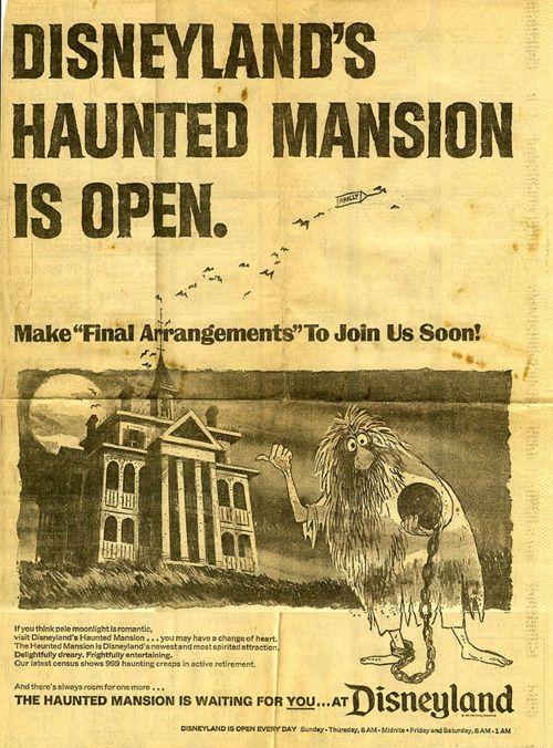 The Haunted Mansion at Disneyland opened on Saturday, August 9, 1969.  http://celebhotspots.com/hotspot/?hotspotid=4967&next=1