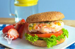 shrimp burger (sub wheat bun with plantain bun)