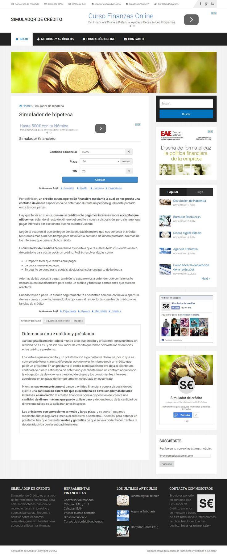 La web Simulador de Crédito ofrece herramientas para calcular los intereses TIN TAE de préstamos o hipotecas, conversor de monedas o validar cuenta IBAN. > http://formaciononline.eu/simulador-de-credito/