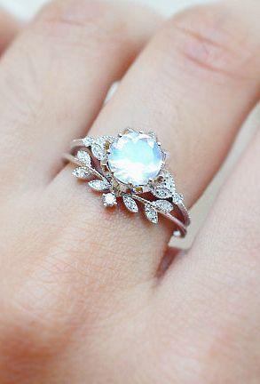 Diamond & Moonstone Ring Set | MichelliaDesigns on…