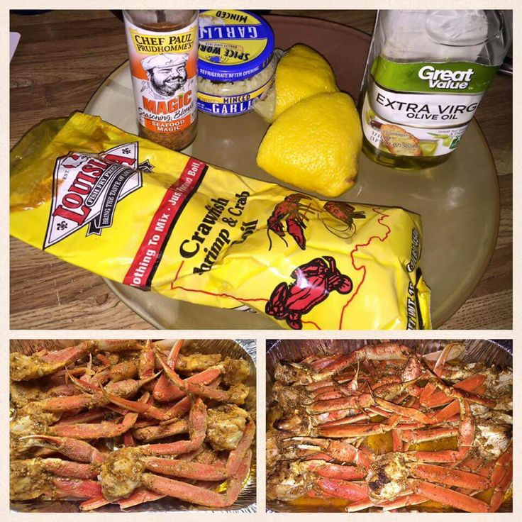 Preheat oven to 375. Melt a cup of butter in a sauce pan. Add 2 tablespoons minced garlic, lemon juice from 1 lemon, 2 tablespoons of magic seasoning (I picked it up at Walmart). I just poured in the crab boil to taste. Brush each leg with the sauce. If you'd like, inject your clusters with the sauce as well. Pour the remaining sauce over the crab legs. Bake for 25 minutes uncovered.