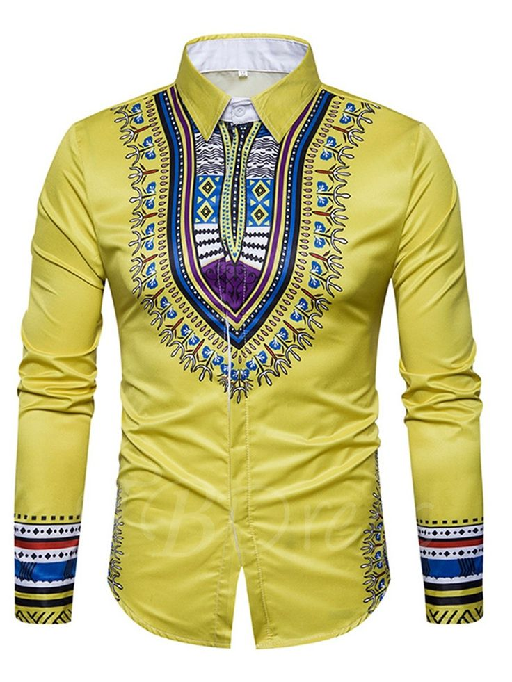 Yellow African fashion men dashiki shirt top for lover of ethnic dashiki pattern printed slice fit men's shirt. Model slim with cotton materia.