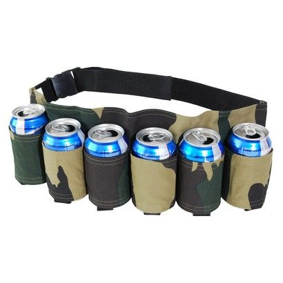 Bought this for my dad so when he walks to the point for the evening fishing bite he doesn't have to carry a cooler with him anymore.  Handsfree!  Keep a 6-pack close to your 6-pack with this beverage holster belt. In a camouflage design, it holds all of your favorite drinks around the waist. Don't worry about running out of drinks or misplacing your can with this belt.