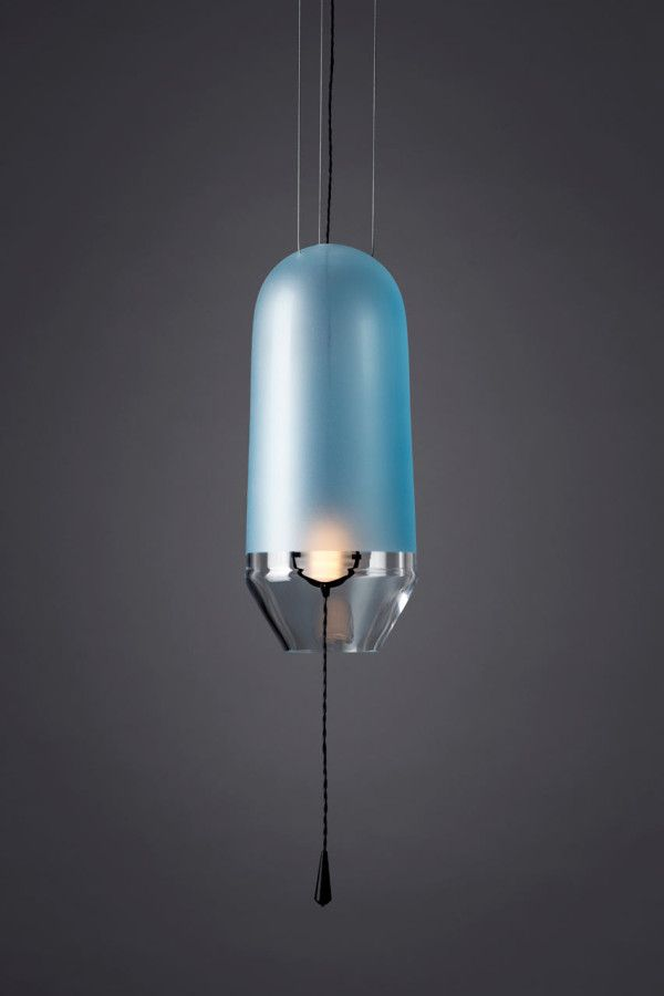 blue frosted glass pendant light