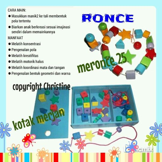 ANEKA RONCE #mainanedukasi #mainanpaud #mainanplaygroup #mainantk #mainankayu #mainananak #motorikhalus #konsentrasi #belajar #belajaranak #ronce #meronce25 #kotakmerjan #konsentrasi #koordinasimatadantangan  #kreatifanak #warna #anak #batita #balita #kadoanak #suveniranak #hadiahanak #educationaltoysfortoodlers #educationaltoys #toodlers #kids #games #woodentoys WA/text : +6283863275962 CP : Christine