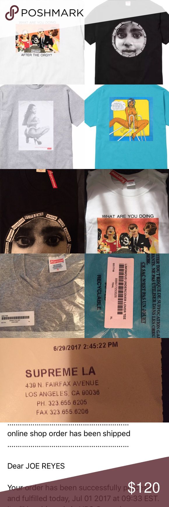 Supreme shirts men's XL SS17, BEST OFFER OK Price is for each individual shirt, all are brand new Know Your Rights and Orgy tee with supreme tags still on from Supreme store. Digi and Undercover Lover tee are still new in bag from Supreme online. Reasonable Offers will be accepted, only thru the offer button. Supreme Shirts Tees - Short Sleeve