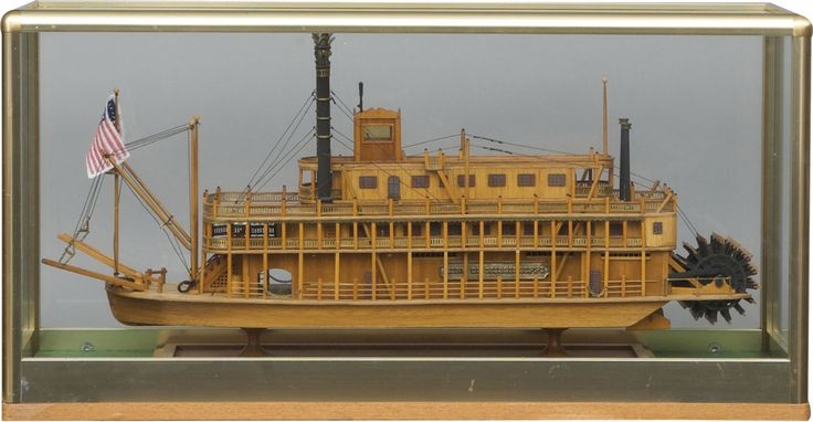 Model Of A Mississippi Steam Boat In A Glass Case W 30 X D8 X H15 In 163 595 Theme Modes Of
