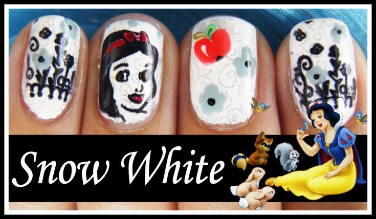 DISNEY PRINCESS NAIL ART DESIGN | SNOW WHITE NAILS TUTORIAL HALLOWEEN KONAD STAMPING BEGINNERS EASY meiney video