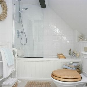 Small bathroom with sloped ceiling by for Small bathroom with sloped ceiling