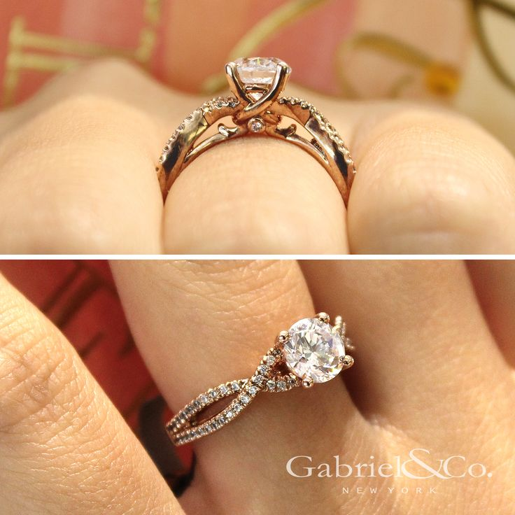 Gabriel & Co. - Voted #1 Most Preferred Bridal Brand.    A round-cut engagement ring with strands of pink gold are encrusted on the contemporary criss cross with pavé diamond.