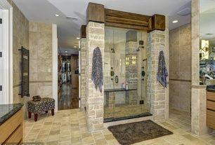 Mediterranean Master Bathroom with frameless showerdoor, Frameless Shower Doors By Dulles Glass and Mirror, Master bathroom