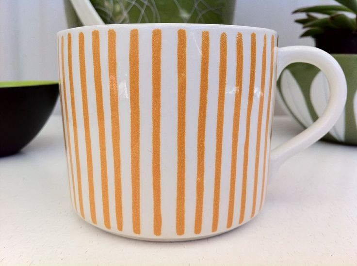 Rorstrand, Kadett tea cup, by Hertha Bengtsson, 1960s. https://www.etsy.com/nz/listing/179472589/cute-mid-century-yellow-stripe-rorstrand?ref=listing-23