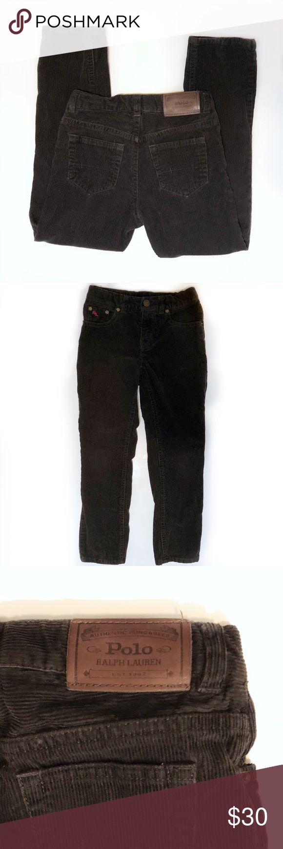 """Boys Polo Ralph Lauren Slim Fit Corduroy Pants Dark brown corduroy slim pants from Polo Ralph Lauren, boys size 5.  Excellent condition with no holes or stains and no fading!  19"""" inseam, adjustable waist.  Ships same or next day from smoke-free home! Polo by Ralph Lauren Bottoms"""