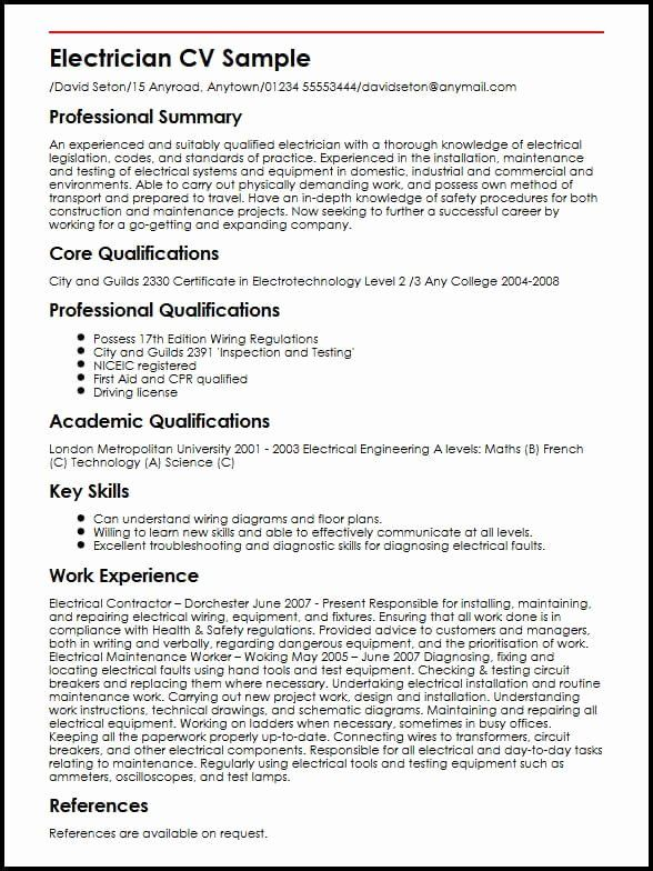 Electrician Resume Template Microsoft Word Fresh Electrician Cv Sample In 2020 Job Resume Template Resume Template Resume Examples