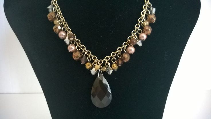 Pendant Necklace with Gold Coloured Chain. Various Shapes/Colours of Beads etc