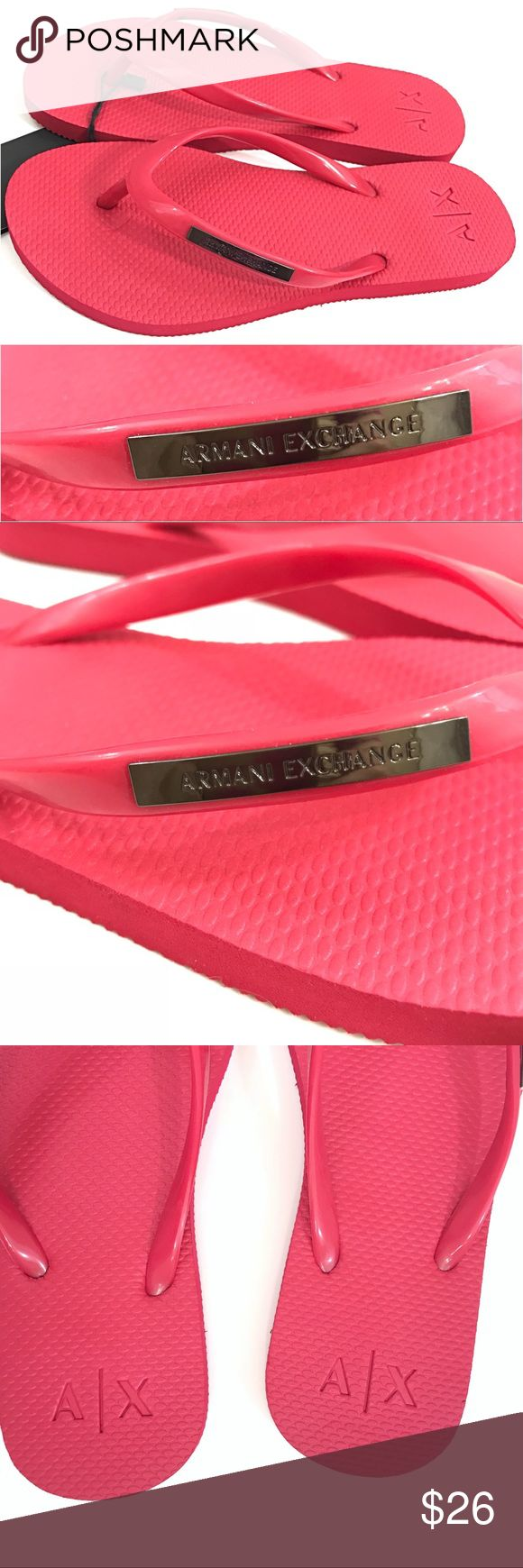 Armani Exchange Pink NWT Flip Flops with Logo This classic flip flop has an understated smart design with logo detailed straps. Textured footbed Metal Logo at straps Logo on footbed Upper: 100% PVC, Sole: 100% EVA Spot clean only Imported 945025-CC705 Sold out everywhere Armani Exchange Dark Pink Burgundy Color Allow for variation in color due to lighting A/X Armani Exchange Shoes Slippers