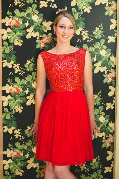 Keirann -- chose this stunning red chiffon 1950s dress with sequined bodice for her prom (her sister, Kayley, found her prom dress here too -- and her wedding dress!)