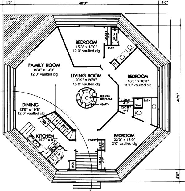 Prefab octagon house plans house design plans for Octagon deck plans free