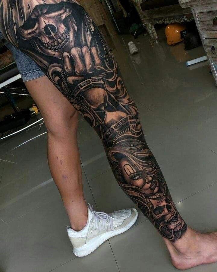 Pin By Liberty Graham On Bad A Tats Full Leg Tattoos Chicano