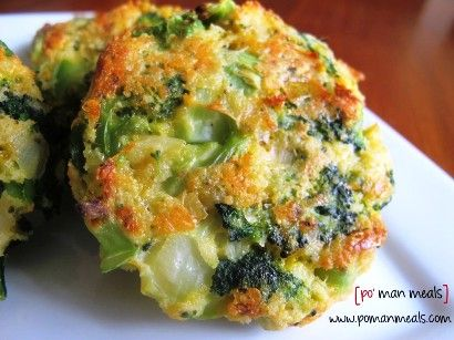 Cheesy Roasted Broccoli Patties Recipe - with crushed rice chex cereal for the panko breadcrumbs