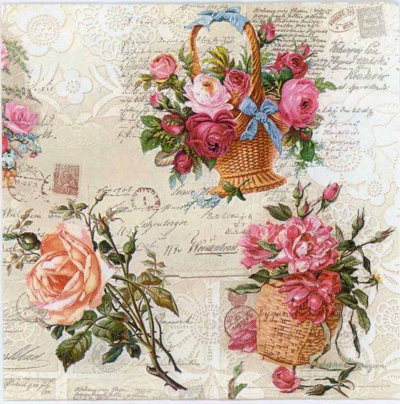 Decoupage Paper Napkins Baskets Of Roses Floral Napkins Etsy Paper Napkins For Decoupage Floral Napkins Decoupage Paper
