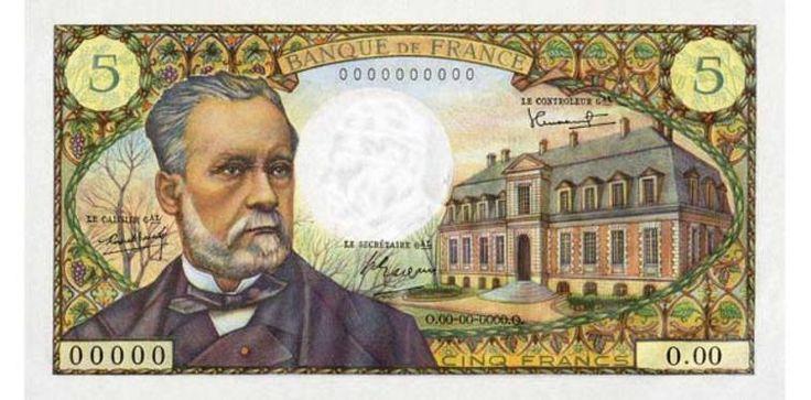 Billet de 5 francs Pasteur (type 1966) émis par la Banque de France en 1967 (recto, 140 x 75 mm)