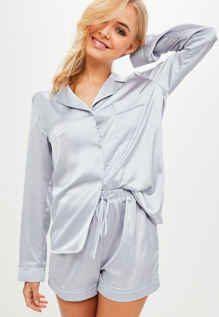 Missguided - grey satin pyjama set