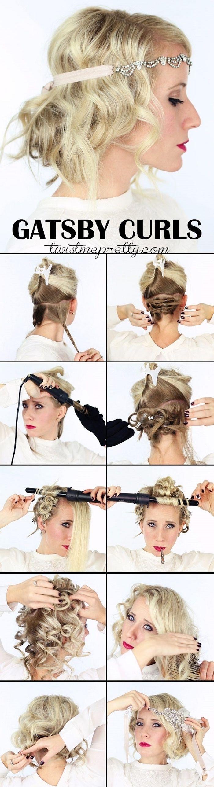 eine retro party idee, kurze blonde haare, schöne frisur mit haarschmuck, kurze haare locken, lockenstab
