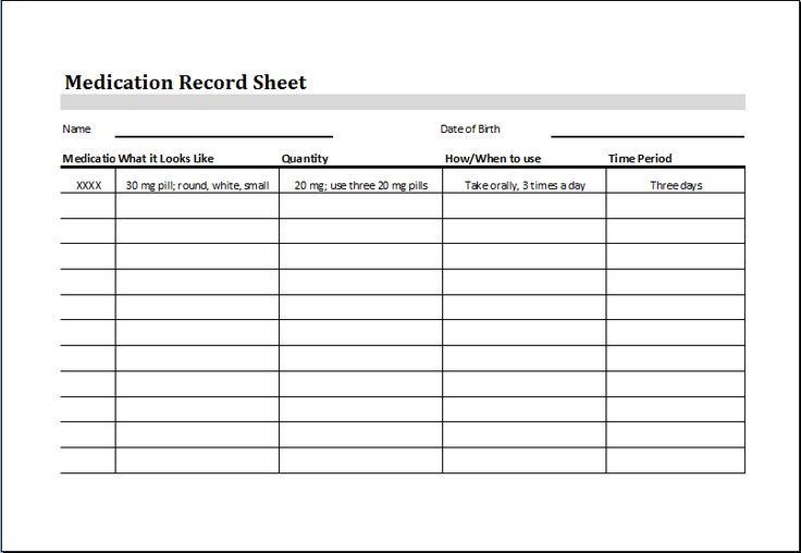 medication record sheet download at
