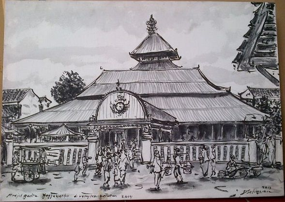 Lukisan Masjid Agung Jogja, oil on canvas, 70 x 50 cm