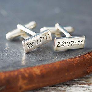 Personalised Rectangular Silver Cufflinks - 40th birthday gifts