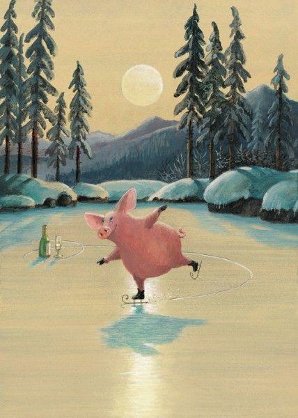 Eiskunstlauf: Illustration by Gerhard Glück (10,5 x 14,8 cm Postkarte, €1.00)…
