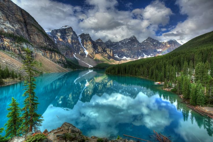Mountains, clouds, forest, sky, lake, canada vektor