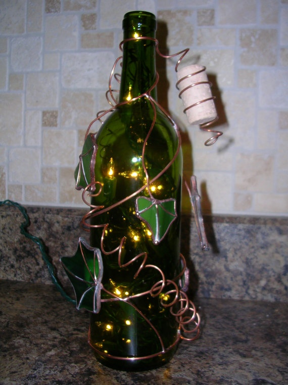 29 best stuff i made images on pinterest for Things made from wine bottles