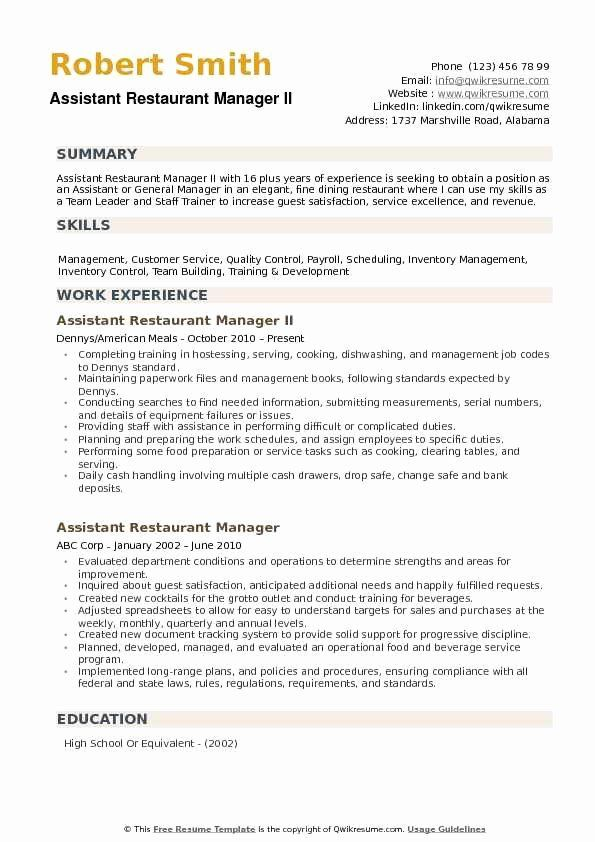 40 Restaurant Manager Resume Examples In 2020 Resume Examples