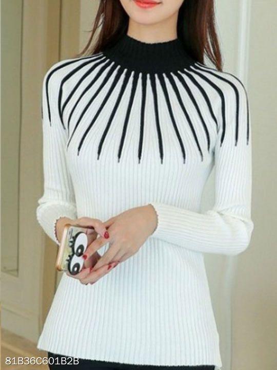 ef3440070b3 ... Long Sleeve T-Shirts. Striped Half Turtleneck Winter Women Sweater -  berrylook.com