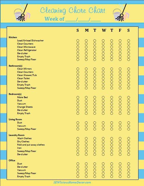 Daily/Weekly Cleaning Chore Chart with cleaning tips from a pro. sewlicioushomedecor.com