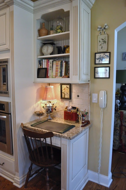 The Thrifty Gypsy: Home Tour Part 6&7~ Kitchen and Keeping room - love this little desk nook
