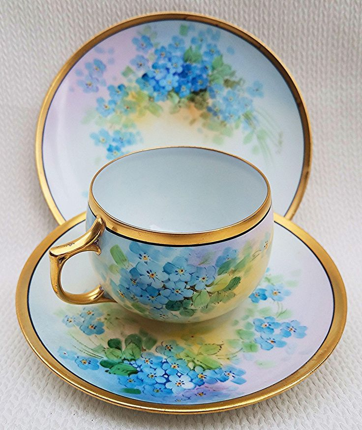 Gorgeous JC Bavaria & Osborne Studio of Chicago 1914 Hand Painted 'Forget Me Not' 3-Pc Cup, Saucer, & Plate Floral Set by 'Asbjorn Osborne'