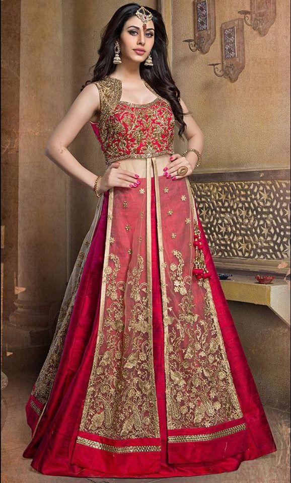 A gorgeous designer lehenga-choli from Aishwarya Design Studio that will look great for the upcoming festive season. #Eid http://www.aishwaryadesignstudio.com/long-lacha-style-bridal-wear-lehenga-choli-in-beige-red