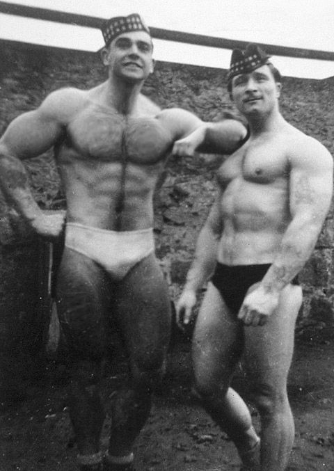 Sean Connery as a body builder in the 1950s, This photo qualifies for board due to Scottish tam! LOL!