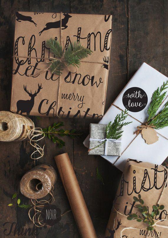 Winter Animal Christmas Wrapping Paper / Gift Kraft Wrapping Paper / Modern Black Xmas Pattern