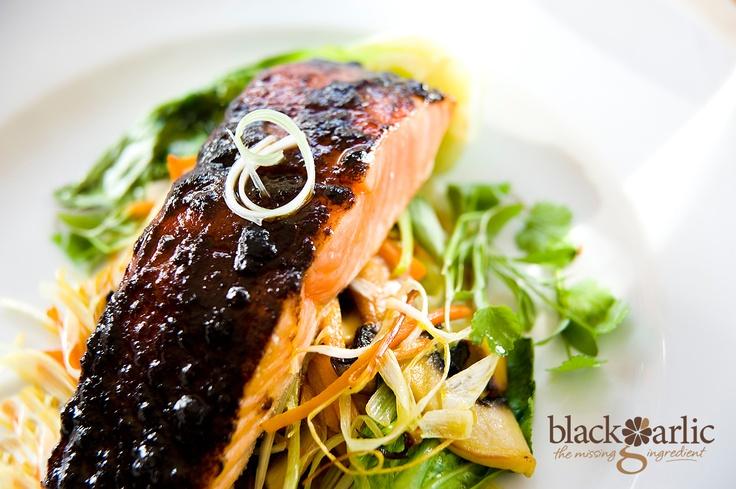 Black Garlic Salmon. Visit http://blackgarlic.co.uk for more information and inspiration.