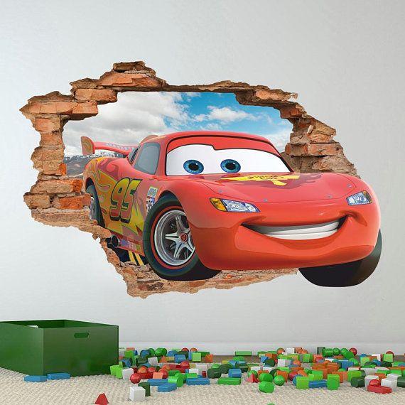 Disney Cars 3d Wall Decal Lightin Mcqueen Wall Sticker Removable